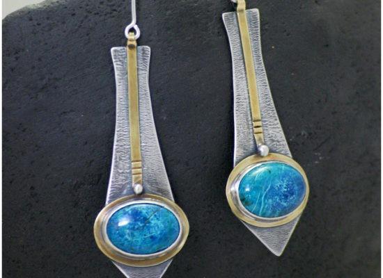 Eliz'art, bijoux lithothérapie et vibratoires. Boucles d'oreilles en argent 925 recyclé, laiton et stattuckites